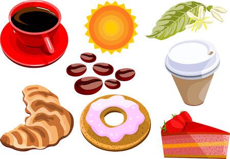 Reihe von Vektor-Kaffee, Süßigkeiten und Kuchen Standard-Bild - 4184815