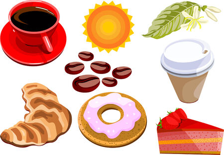 Set of vector coffee, sweets and cakes