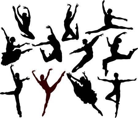 Set of ballet dancers silhouettes. Vector illustration Zdjęcie Seryjne - 4184814