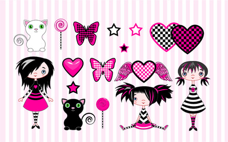 black baby girl: Set of cute emo-stile girls, cats and objects
