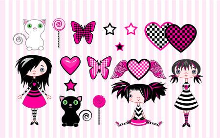 Set van cute emo-stile meisjes, katten en objecten Stock Illustratie