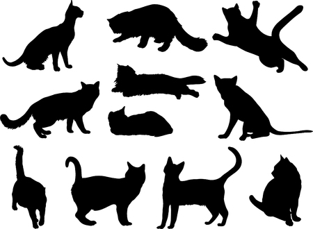 Big cat silhouette collection. Vector Illustration Vectores