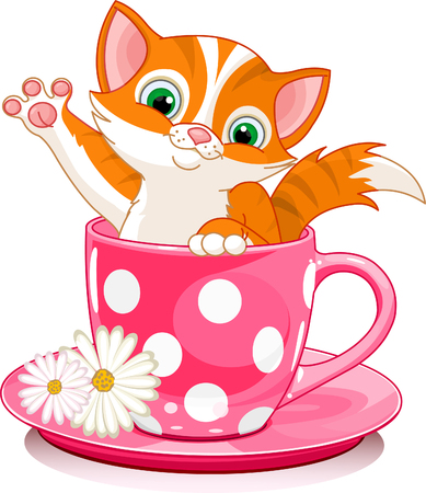 Domestic red  kitten in tea cup. Vector illustration