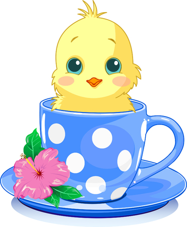 cute images: Cute chicken in tea cup. Vector illustration