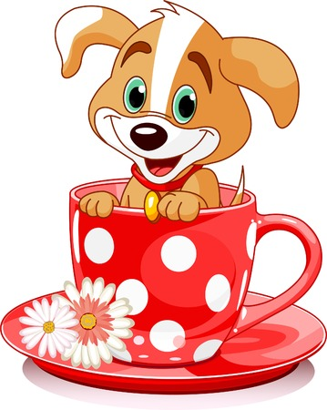 Cute  puppy in tea cup. Vector illustration Çizim