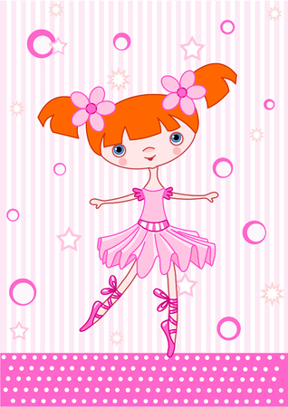 Cute little dancing ballerina. Vector Illustration
