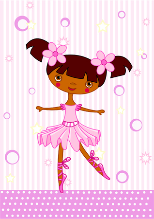 redhair: Cute little dancing ballerina. Vector Illustration