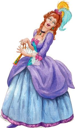 peluca: Vintage estilo de imagen de la mujer en un vestido barroco