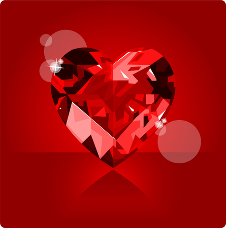 Shiny ruby love heart on red background