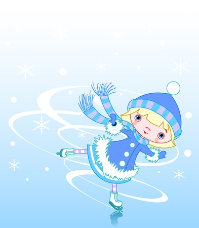 Cute little girl ice skater Ilustrace