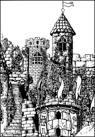 castello medievale: Castello medievale - illustrazione vettoriale.