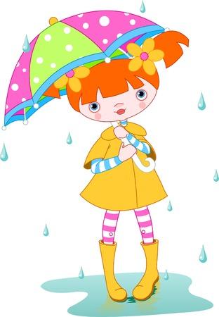 Girl wearing rain gear, carrying  umbrella. Vector Vector