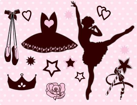 ballerina silhouette: Set of ballet accessories and ballerina Illustration