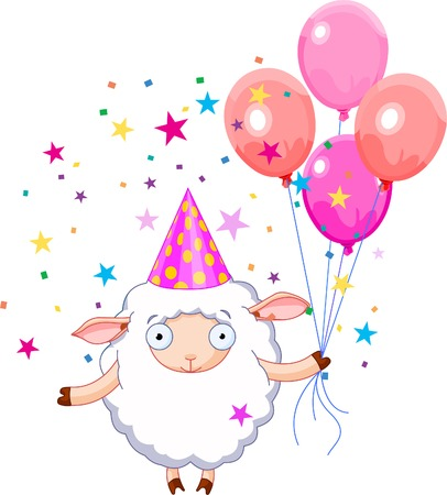 Sheep  holding balloons, smiling. Vector illustration