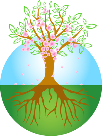 Abstract spring tree with flowers Vector