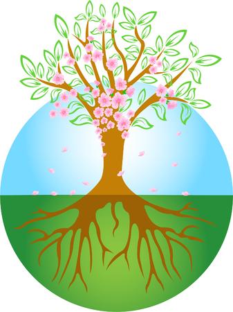 boom wortels: Abstracte Voorjaars boom met bloemen Stock Illustratie