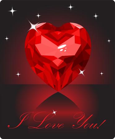 Shiny ruby Liebe Herz auf schwarzem Hintergrund Standard-Bild - 4280615