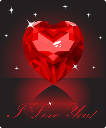 diamond shape: Shiny ruby love heart on black background