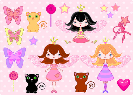 Set of cute fairy princess girls, cats and objects