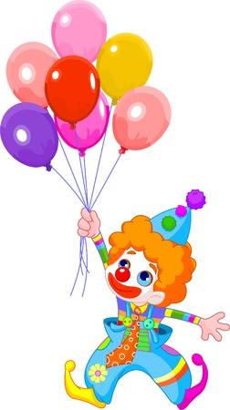 The clown fly with balloons. Vector illustration Vector