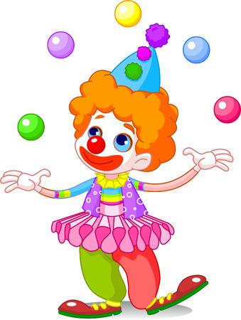 clown cirque: Cute funny clown jonglage. Vector illustration Illustration