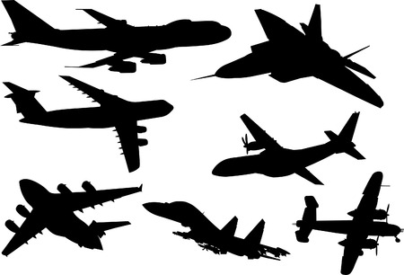 A collection of eight plane silhouettes from different angles