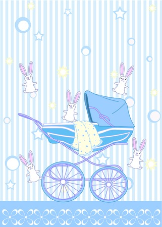 baby announcement card: Baby boy arrival announcement card Illustration