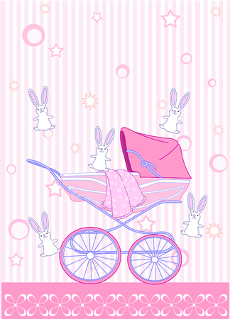 baby girl: Baby girl arrival announcement card Illustration