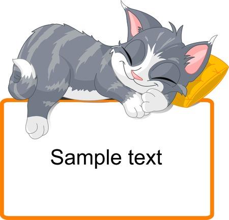 chaton en dessin anim�: Cute dormir chat gris sur le bloc de texte