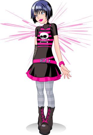Sad emo Stil Teenager-Mädchen. Vector illustration