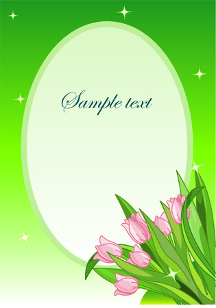 Greeting card. Bouquet of the pink tulips Vector