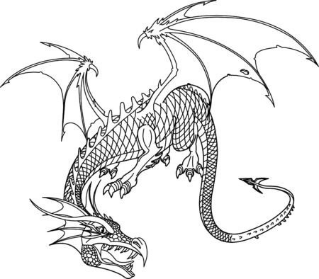 ancient creature: Ancient Dragon, vector illustration. Black and white