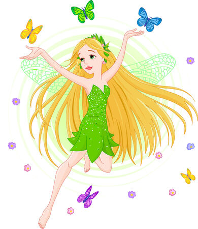 Vector illustration of a spring fairy in flight Stock Vector - 4341776
