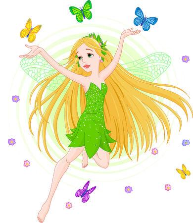 Vector illustration of a spring fairy in flight Vector