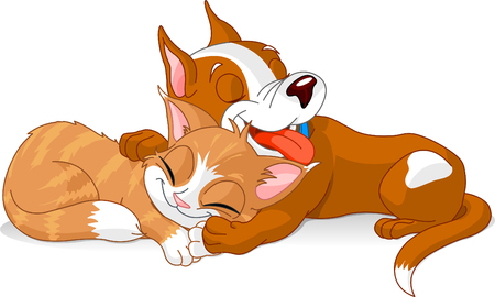 Slipping  cute dog and cat. Vector Illustration Vector