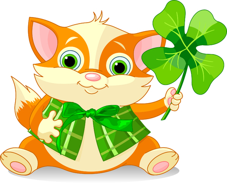 Red kitten holding clover. St. Patricks Day illustration Vector