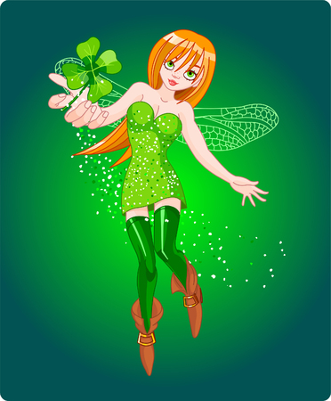 Beautiful fairy flying, holding clover leaf. Vector