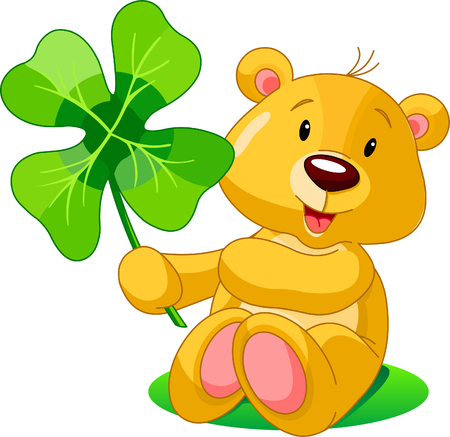 Cute bear holding clover. St. Patricks Day illustration