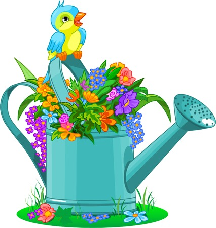 formal garden: Watering can with bouquet of wild flowers Illustration