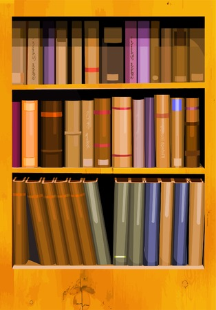 A collection of books in a bookcase in vector format. Illusztráció