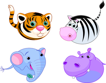 undomesticated cat: Cute safari animals set. Vector illustration