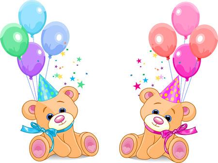 osos de peluche: Dos ositos de peluche (ni�o y ni�a) que act�a con globos. Ilustraciones Vectoriales Vectores