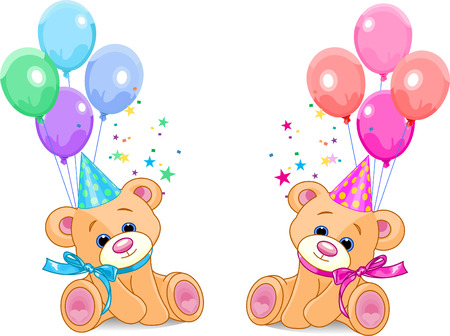 Two Teddy Bears (boy and girl) sitting with balloons. Vector Illustration