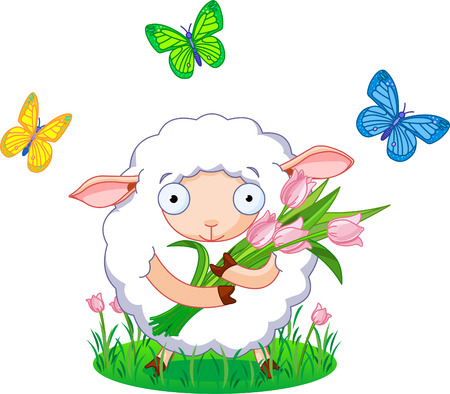 Cute white sheep holding tulip bouquet