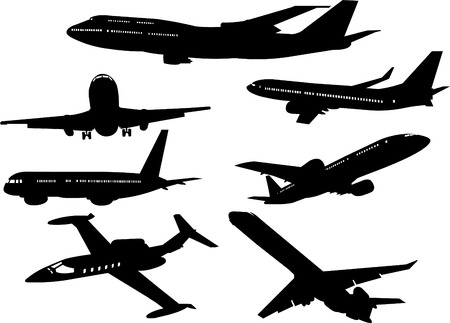 Collection of  airplanes silhouettes from different angles
