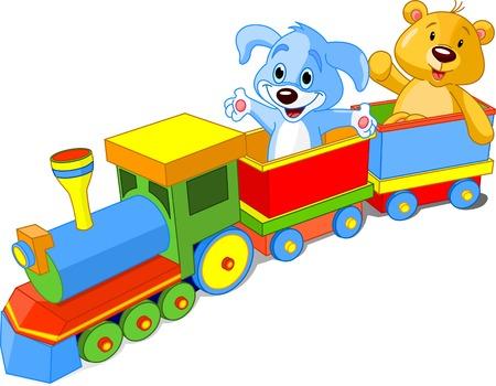 Toy trein. Hond en Teddy zitten in de auto en afzien hallo. Vector Illustratie
