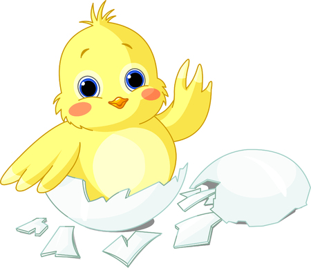Cute little chicken sitting in an egg Stock Vector - 4405697