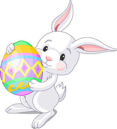 easter and rabbit: Illustration of happy Easter bunny carrying egg Illustration