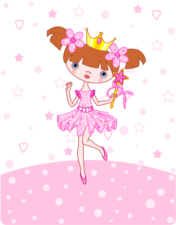 A vector illustration of a happy little princess over   pink background