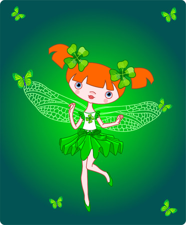 red clover: Cute little fairy flying with butterflies. Vector